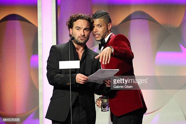 Actors Johnny Galecki and Wilson Cruz speak onstage during the 25th Annual GLAAD Media Awards at The Beverly Hilton Hotel on April 12 2014 in Beverly...