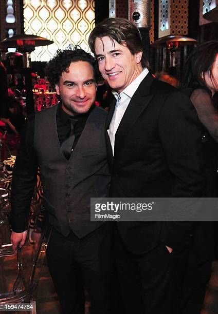 Actors Johnny Galecki Dermot Mulroney and attend HBO's Official Golden Globe Awards After Party held at Circa 55 Restaurant at The Beverly Hilton...