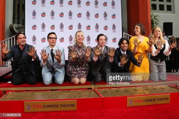 Actors Johnny Galecki Jim Parsons Kaley Cuoco Simon Helberg Kunal Nayyar Mayim Bialik and Melissa Rauch attend the handprint in cement ceremony for...