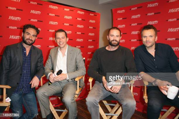 Actors Johnny Galecki Jon Cryer Garret Dillahunt and Joel McHale attend Day 1 of the Variety EMMY studio sponsored by Motorola on May 30 2012 in West...