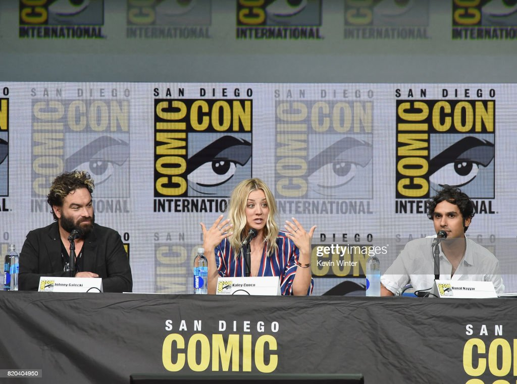Actors Johnny Galecki, Kaley Cuoco and Kunal Nayyar speak onstage at the 'The Big Bang Theory' panel during Comic-Con International 2017 at San Diego Convention Center on July 21, 2017 in San Diego, California.
