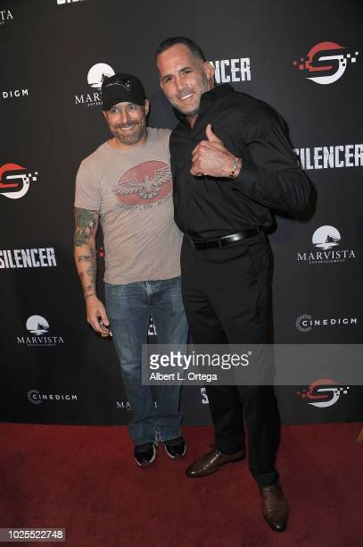 Actors Johnny Messner and Jeff Hill arrive for the Premiere Of Cinedigm's Silencer held at Laemmle's Ahrya Fine Arts Theatre on August 30 2018 in...