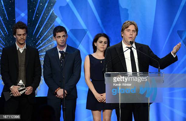 Actors Johnny Simmons Logan Lerman Mae Whitman and director Stephen Chbosky accept the Outstanding Wide Release Film award for Perks Of Being A...