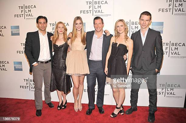 Actors Johnny Solo Marsha Dietlein Caitlin Fitzgerald director/actor Edward Burns and actors Kerry Bishe and Dara Coleman attend the premiere of...