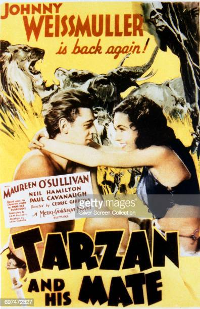 Actors Johnny Weissmuller as Tarzan and Maureen O'Sullivan as Jane Parker on a poster for the MGM film 'Tarzan and His Mate' 1934