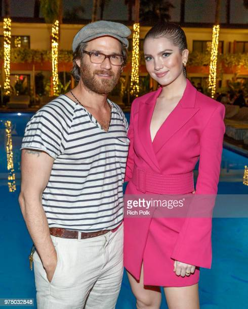 Actors Johnny Whitworth and Maya Henry pose for a photo at an event where Flaunt Presents a private screening of Eva Dolezalova's 'Carte Blanche' at...
