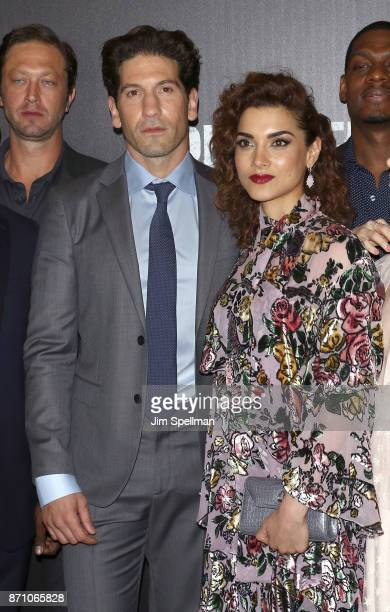 Actors Jon Bernthal and Amber Rose Revah attend the 'Marvel's The Punisher' New York premiere at AMC Loews 34th Street 14 theater on November 6 2017...