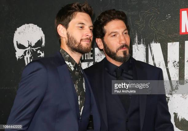Actors Jon Bernthal and Ben Barnes attend Marvel's The Punisher Los Angeles premiere at the ArcLight Hollywood on January 14 2019 in Hollywood...
