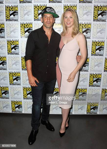 "Actors Jon Bernthal and Deborah Ann Woll attend Netflix's ""The Defenders"" panel during Comic-Con International 2017 at San Diego Convention Center on..."