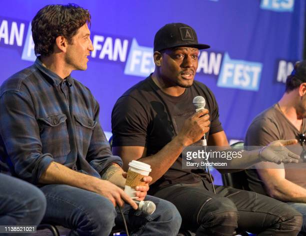 Actors Jon Bernthal and Jason R Moore during the Walker Stalker Fan Fest at Donald E Stephens Convention Center on April 20 2019 in Chicago Illinois