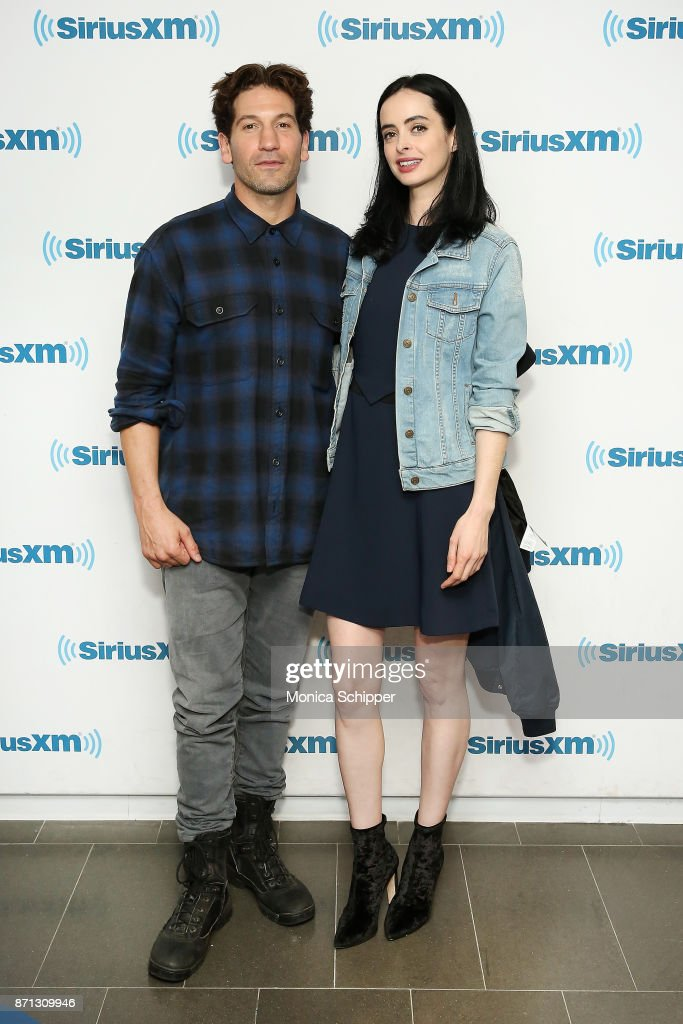 Actors Jon Bernthal (L) and Krysten Ritter visit SiriusXM Studios on November 7, 2017 in New York City.