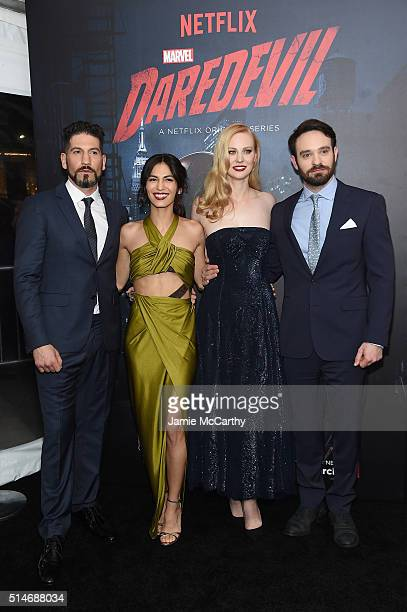 """Actors Jon Bernthal, Elodie Yung, Deborah Ann Woll, and Charlie Cox attend the """"Daredevil"""" Season 2 Premiere at AMC Loews Lincoln Square 13 theater..."""