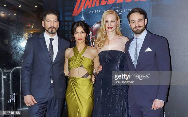 Actors Jon Bernthal Elodie Yung Deborah Ann Woll and Charlie Cox attend the 'Daredevil' season 2 premiere at AMC Loews Lincoln Square 13 theater on...