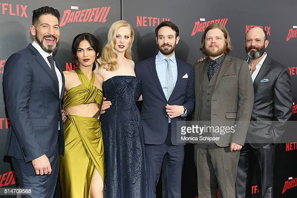 Actors Jon Bernthal Elodie Yung Deborah Ann Woll Charlie Cox Elden Henson and Geoffrey Cantor attend the 'Daredevil' Season 2 Premiere at AMC Loews...