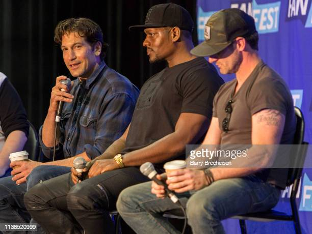 Actors Jon Bernthal, Jason R. Moore and Josh Stewart during the Walker Stalker Fan Fest at Donald E. Stephens Convention Center on April 20, 2019 in...