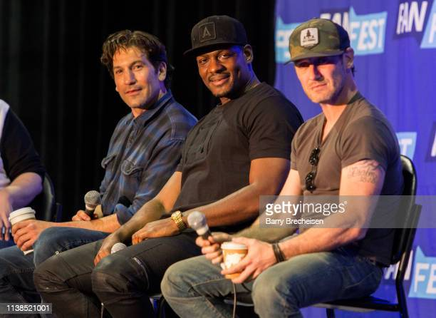 Actors Jon Bernthal Jason R Moore and Josh Stewart during the Walker Stalker Fan Fest at Donald E Stephens Convention Center on April 20 2019 in...
