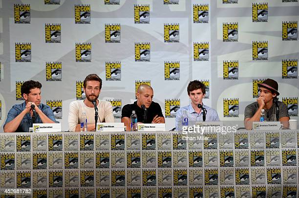 Actors Jon Bernthal Tom Mison Theo Rossi Freddie Highmore and Brenton Thwaites attend the Entertainment Weekly Brave New Warriors panel during...