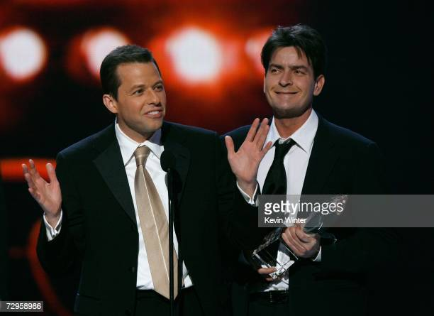 Actors Jon Cryer and Charlie Sheen accept the award for Favorite TV Comedy for Two and a Half Men onstage during the 33rd Annual People's Choice...