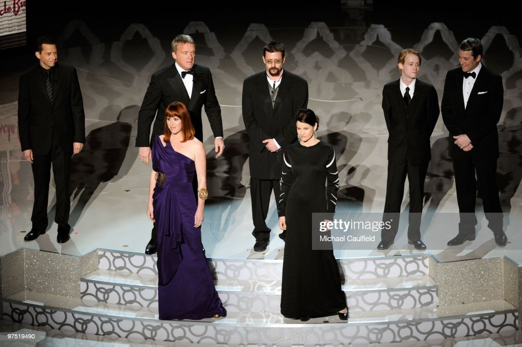 Actors Jon Cryer, Anthony Michael Hall, Molly Ringwald, Judd Nelson, Ally Sheedy Macauley Caulkin, and Matthew Broderick onstage during the 82nd Annual Academy Awards held at Kodak Theatre on March 7, 2010 in Hollywood, California.