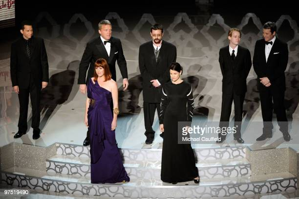 Actors Jon Cryer Anthony Michael Hall Molly Ringwald Judd Nelson Ally Sheedy Macauley Caulkin and Matthew Broderick onstage during the 82nd Annual...