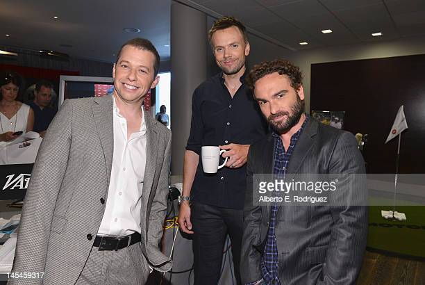 Actors Jon Cryer Joel McHale and Johnny Galecki attend Day 1 of the Variety EMMY studio sponsored by Motorola on May 30 2012 in West Hollywood...