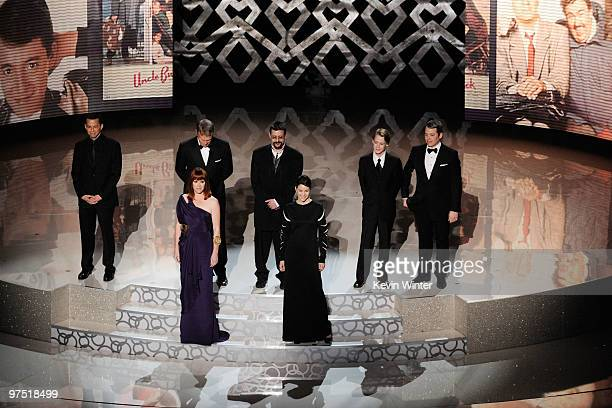 Actors Jon Cryer Molly Ringwald Anthony Michael Hall Judd Nelson Ally Sheedy Macaulay Culkin and Matthew Broderick present tribute to late director...