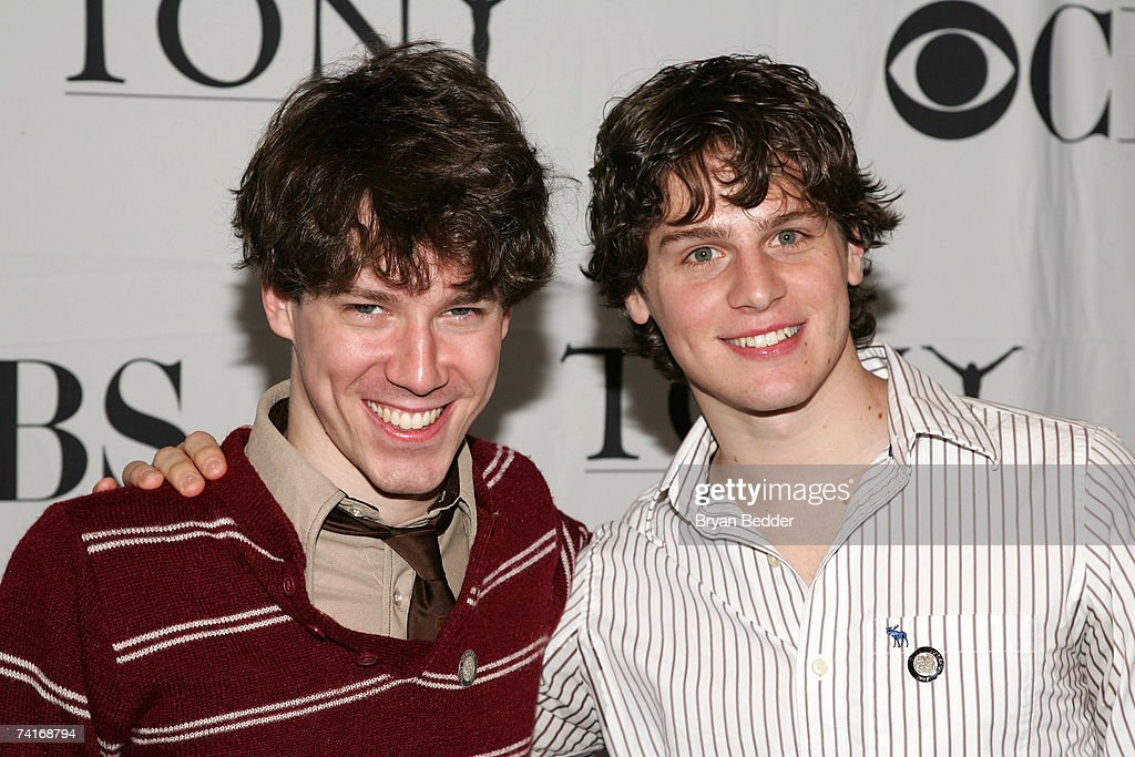 Actors Jon Gallagher Jr. and Jonathan Groff attend the 2007 Tony Awards nominees press reception at the Marriott Marquis on May 16, 2007 in New York City.