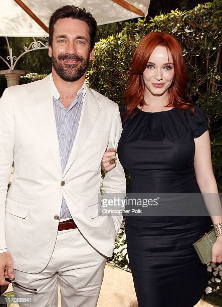 Actors Jon Hamm and Christina Hendricks pose together at the Critics' Choice Television Awards at Beverly Hills Hotel on June 20 2011 in Beverly...