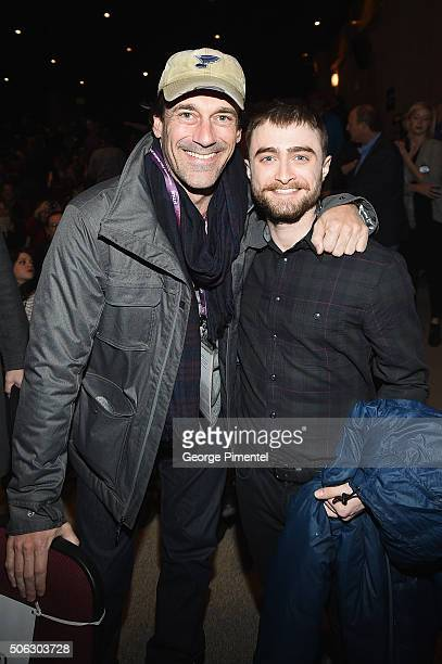 Actors Jon Hamm and Daniel Radcliffe attend the 'Swiss Army Man' Premiere during the 2016 Sundance Film Festival at Eccles Center Theatre on January...