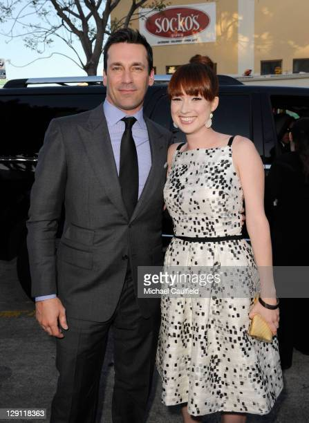 "Actors Jon Hamm and Ellie Kemper arrive at the premiere of Universal Pictures' ""Bridesmaids"" held at Mann Village Theatre on April 28, 2011 in Los..."
