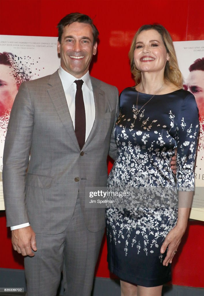 Actors Jon Hamm and Geena Davis attend the 'Marjorie Prime' New York premiere at Quad Cinema on August 18, 2017 in New York City.
