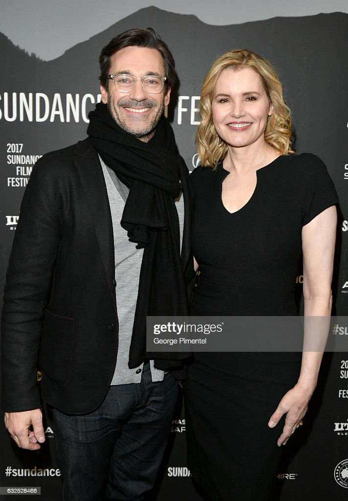 Actors Jon Hamm (L) and Geena Davis attend the 'Marjorie Prime' Premiere at Eccles Center Theatre on January 23, 2017 in Park City, Utah.
