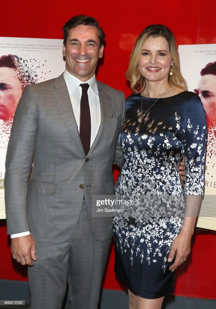 Actors Jon Hamm and Geena Davis attends the 'Marjorie Prime' New York premiere at Quad Cinema on August 18, 2017 in New York City.