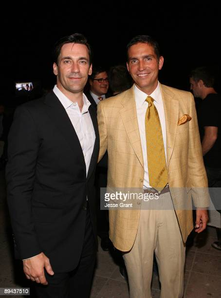 Actors Jon Hamm and James Caviezel attend the 2009 TCA AMC cocktail reception at The Langham Huntington Hotel on July 28 2009 in Pasadena California