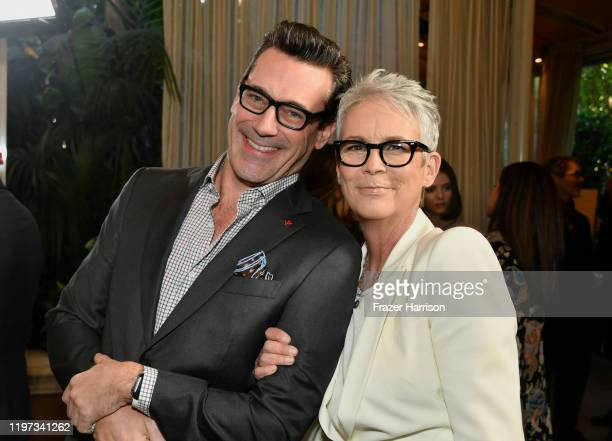 Actors Jon Hamm and Jamie Lee Curtis attend the 20th Annual AFI Awards at Four Seasons Hotel Los Angeles at Beverly Hills on January 03, 2020 in Los...