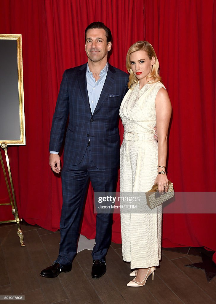 Actors Jon Hamm (L) and January Jones attend the 16th Annual AFI Awards at Four Seasons Hotel Los Angeles at Beverly Hills on January 8, 2016 in Beverly Hills, California.