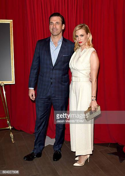 Actors Jon Hamm and January Jones attend the 16th Annual AFI Awards at Four Seasons Hotel Los Angeles at Beverly Hills on January 8 2016 in Beverly...