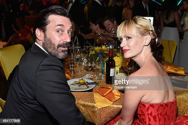 Actors Jon Hamm and January Jones attend the 66th Annual Primetime Emmy Awards Governors Ball held at Los Angeles Convention Center on August 25 2014...