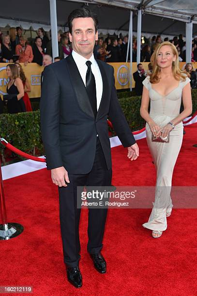 Actors Jon Hamm and Jennifer Westfeldt arrive at the 19th Annual Screen Actors Guild Awards held at The Shrine Auditorium on January 27, 2013 in Los...