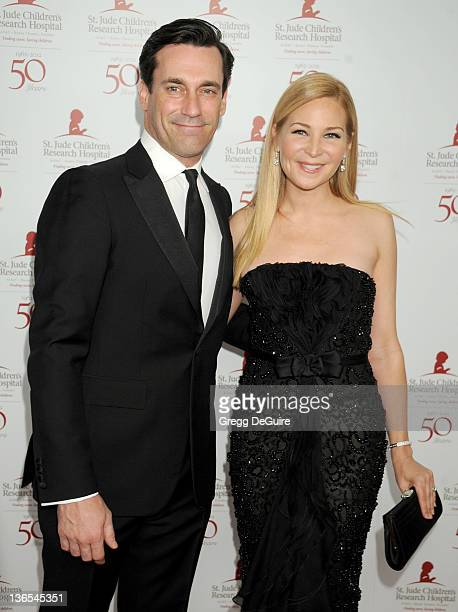Actors Jon Hamm and Jennifer Westfeldt arrive at the 50th Anniversay Benefit Gala of St Jude Children's Research Hospital at The Beverly Hilton Hotel...