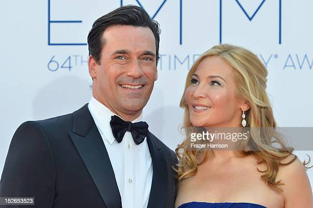 Actors Jon Hamm and Jennifer Westfeldt arrive at the 64th Annual Primetime Emmy Awards at Nokia Theatre LA Live on September 23 2012 in Los Angeles...