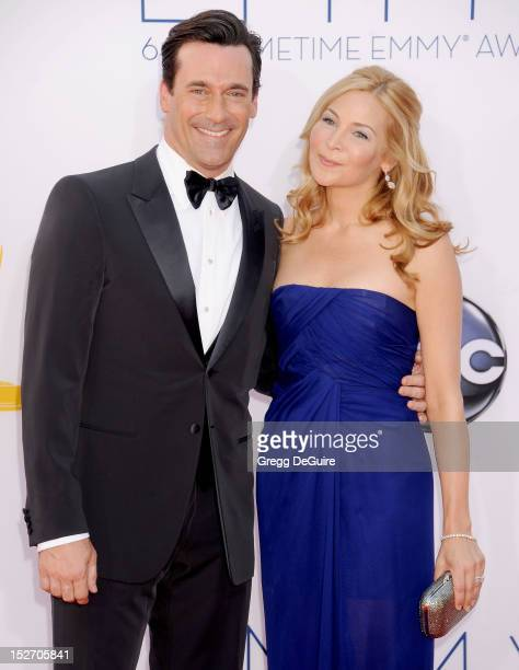 Actors Jon Hamm and Jennifer Westfeldt arrive at the 64th Primetime Emmy Awards at Nokia Theatre L.A. Live on September 23, 2012 in Los Angeles,...