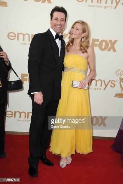 Actors Jon Hamm and Jennifer Westfeldt arrive to the 63rd Primetime Emmy Awards at the Nokia Theatre LA Live on September 18 2011 in Los Angeles...