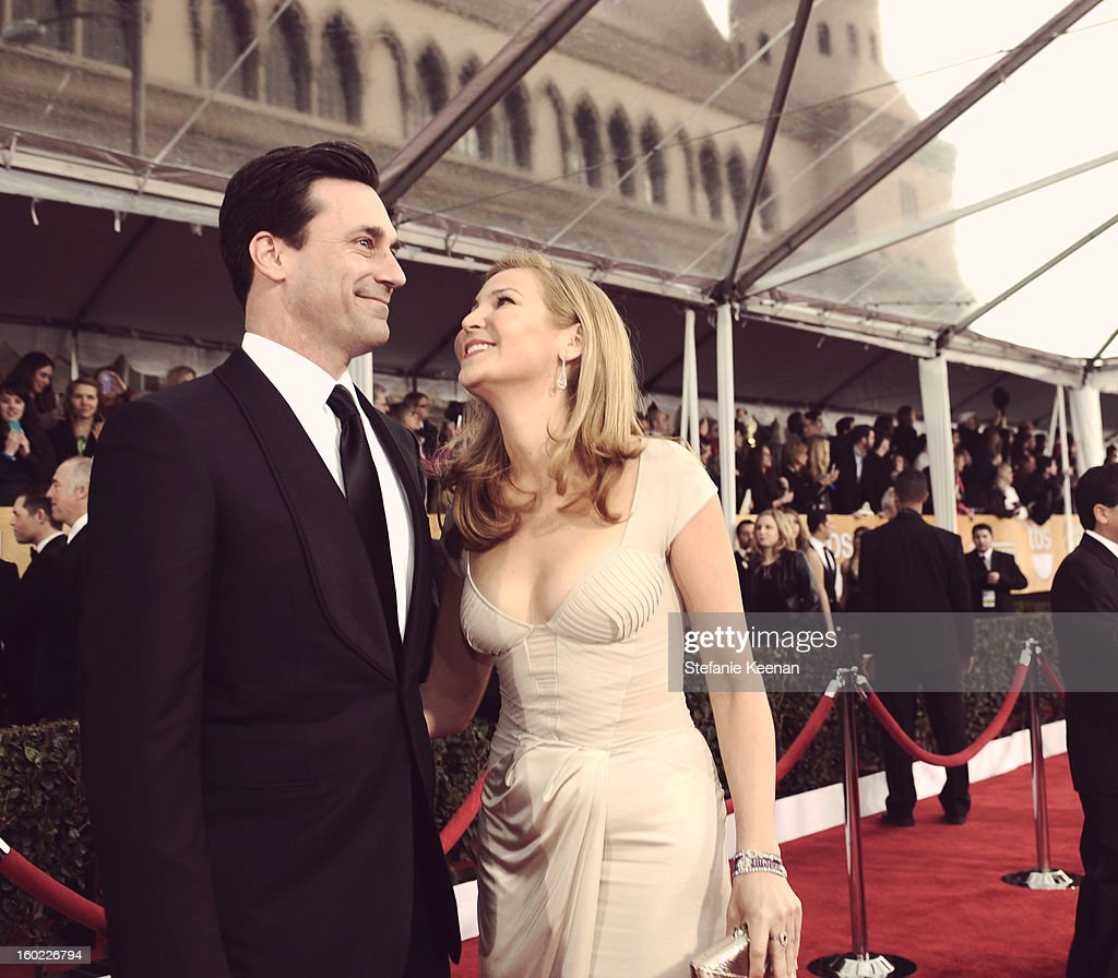 Actors Jon Hamm (L) and Jennifer Westfeldt attend the 19th Annual Screen Actors Guild Awards at The Shrine Auditorium on January 27, 2013 in Los Angeles, California. (Photo by Stefanie Keenan/WireImage) 23116_025_1284.jpg