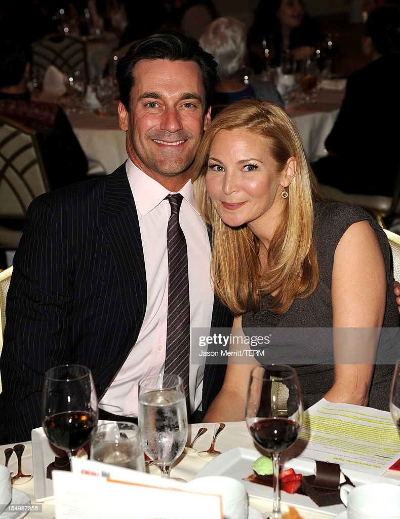 Actors Jon Hamm and Jennifer Westfeldt attend the 2012 Courage in Journalism Awards hosted by the International Women's Media Foundation held at the Beverly Hills Hotel on October 29, 2012 in Beverly Hills, California.