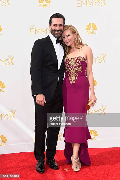 Actors Jon Hamm and Jennifer Westfeldt attend the 66th Annual Primetime Emmy Awards held at Nokia Theatre LA Live on August 25 2014 in Los Angeles...