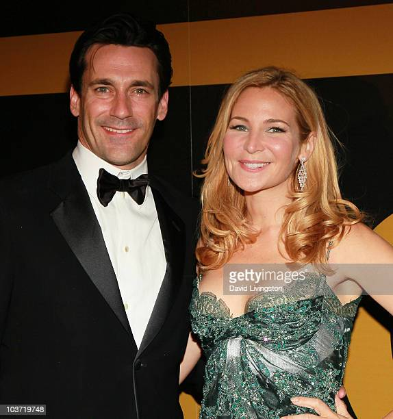 Actors Jon Hamm and Jennifer Westfeldt attend the AMC After Party for the 62nd Annual EMMY Awards at Soho House on August 29 2010 in West Hollywood...