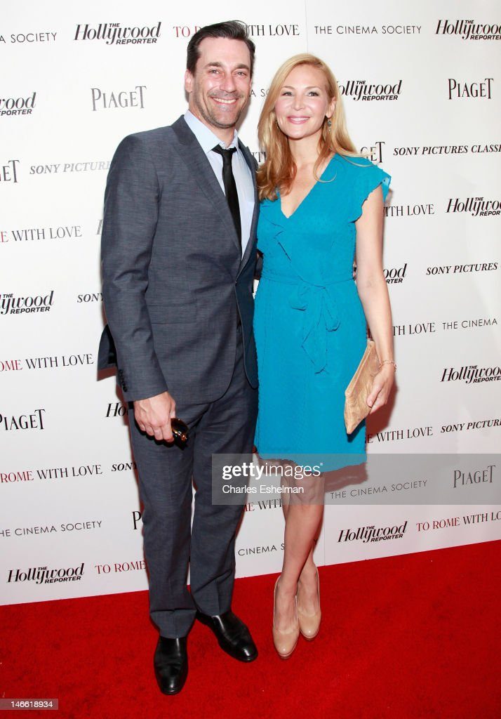Actors Jon Hamm and Jennifer Westfeldt attend The Cinema Society with the Hollywood Reporter & Piaget and Disaronno screening of 'To Rome With Love' at The Paris Theatre on June 20, 2012 in New York City.