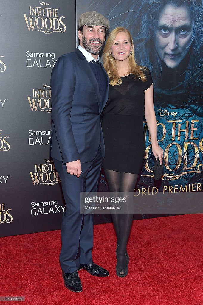 Actors Jon Hamm and Jennifer Westfeldt attend the 'Into The Woods' World Premiere at Ziegfeld Theater on December 8, 2014 in New York City.
