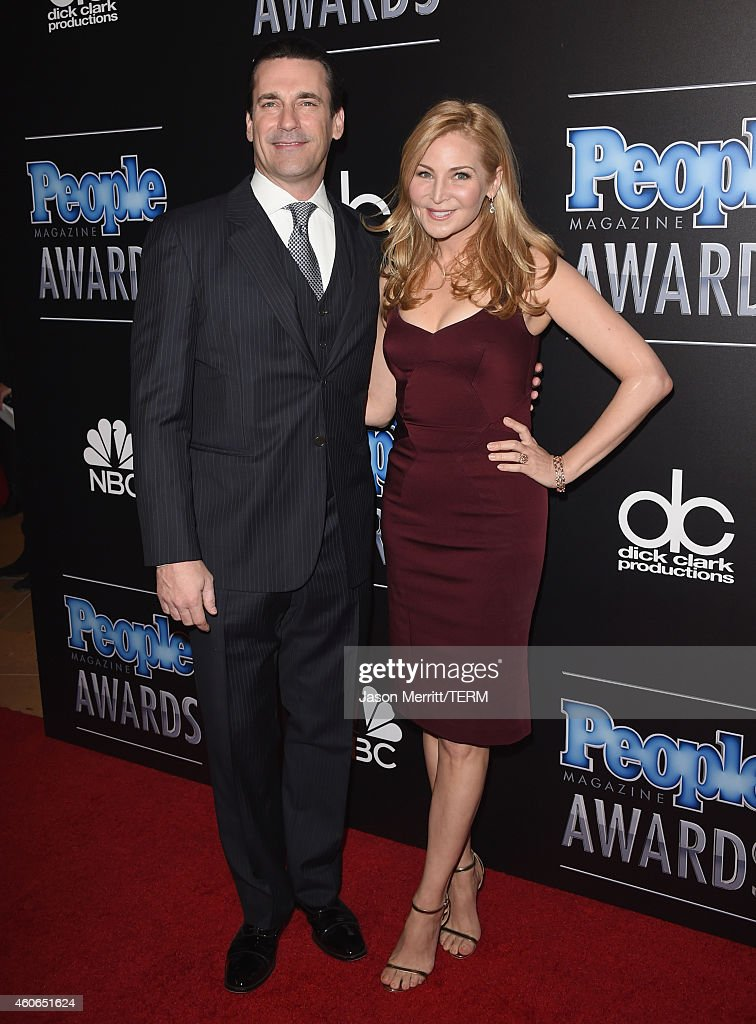 Actors Jon Hamm (L) and Jennifer Westfeldt attend the PEOPLE Magazine Awards at The Beverly Hilton Hotel on December 18, 2014 in Beverly Hills, California.